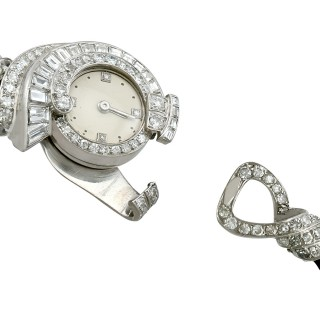 3.07 ct Diamond Cocktail Watch in Platinum - Art Deco - French Antique Circa 1935