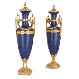 Two French Louis XVI style lapis lazuli and gilt bronze vases