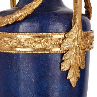 Two French Louis XVI style lapis lazuli and gilt bronze vases