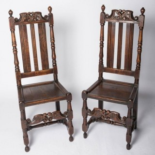 Good Pair Of Charles II Oak Chairs England, C. 1680