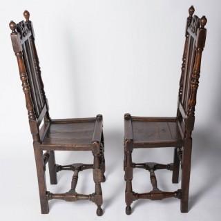 Good Pair Of Charles II Oak Chairs England, C. 1680