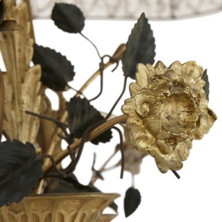 Gilt bronze and glass floor lamp with tole and porcelain flower decoration