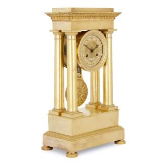 Empire period gilt bronze mantel clock by the Lepaute family