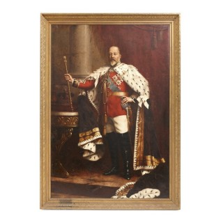 Large portrait painting of Edward VII after Fildes