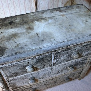 A Small Victorian Ivory Painted Pine Chest of Drawers c.1870