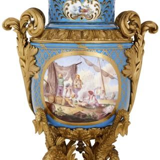 Sèvres style gilt bronze mounted porcelain vase