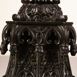 A William Iv Gothic bronze table lamp