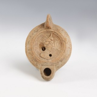 Roman Oil Lamp With Female Profile