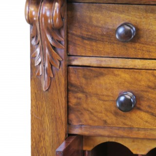 English Mid 19th Century Antique Walnut Wellington Chest Of Drawers