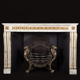 A Louis XVI Style Gilt-Bronze Mounted Grey Veined White Marble Fireplace