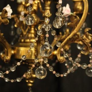Italian Bronze & Crystal 6 Light Chandelier