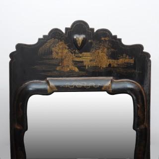 Black Japanned Queen Anne Pier Mirror