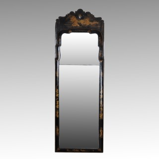 Black Japanned Queen Anne Pier Mirror