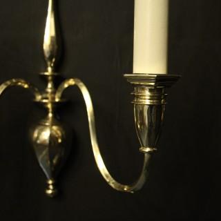 English Set Of 4 Brass Antique Wall Lights