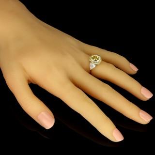 Hancocks 5.13 Carat Fancy Intense Yellow Cushion Shaped Diamond Ring