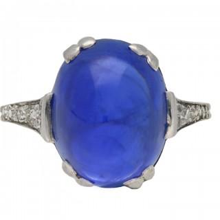 Art Deco Burmese cabochon sapphire and diamond ring, circa 1925.