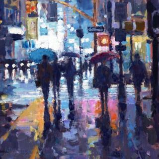 Sidewalk ,Rain,  NYC