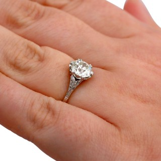 1.56ct Diamond and Platinum Solitaire Ring - Antique Circa 1910