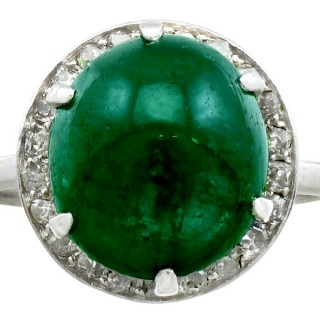 5.60ct Emerald and 0.28ct Diamond, Platinum Dress Ring - Antique Circa 1920