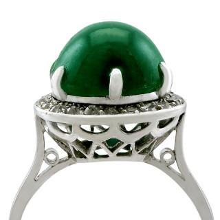 5.60ct Emerald and 0.28ct Diamond, Platinum Dress Ring - Antique Circa 1920