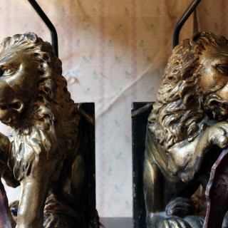 A Pair of 19thC French Table Lamps Modelled as Gilded Heraldic Lions c.1830