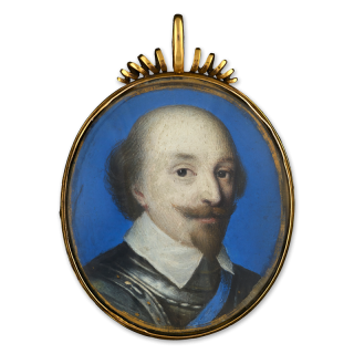 A Nobleman, probably Robert Bertie, 1st Earl of Lindsey (1582-1642), wearing armour, lawn collar and blue sash of the garter
