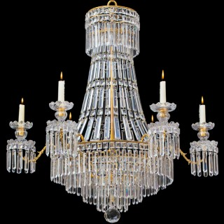 A CLASSIC REGENCY CHANDELIER OF TENT AND WATERFALL DESIGN