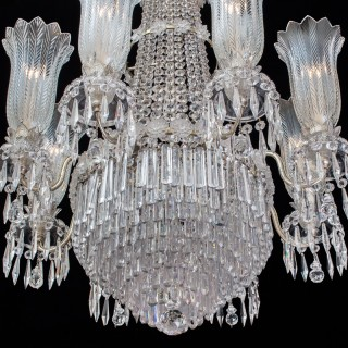 A LARGE EIGHT LIGHT REGENCY TENT AND WATERFALL CHANDELIER OF THE FINEST QUALITY