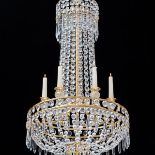 A SMALL ORMOLU MOUNTED REGENCY CHANDELIER BY JOHN BLADES