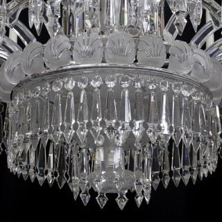 A FINE MID-VICTORIAN FROSTED SIXTEEN LIGHT CUT GLASS ANTIQUE CHANDELIER