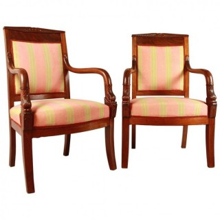 Pair of French Empire Mahogany Fauteuils