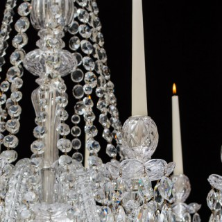 A FINE TEN LIGHT CUT GLASS CHANDELIER BY F&C OSLER