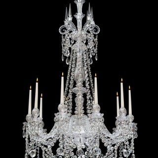 A FINE TEN LIGHT CUT GLASS CHANDELIER BY F&C OSLER