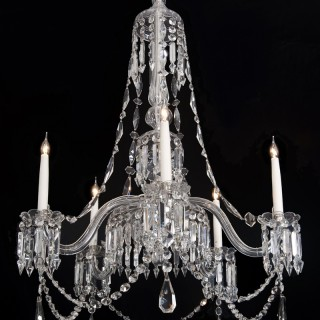 A  MID-VICTORIAN CUT AND MOULDED GLASS ANTIQUE CHANDELIER BY F&C OSLER