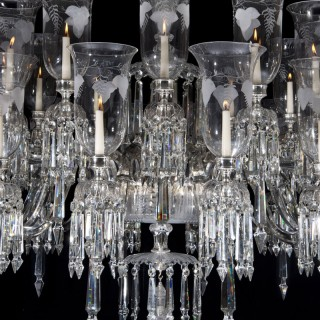 AN EXCEPTIONALY LARGE VICTORIAN CUT & ENGRAVED  CRYSTAL CHANDELIER