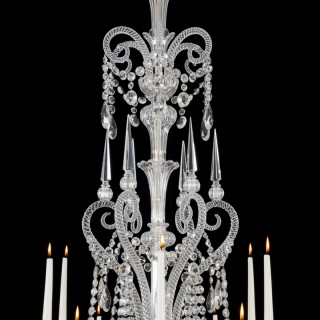 AN FINE TWELVE LIGHT CUT GLASS CHANDELIERS BY F&C OSLER