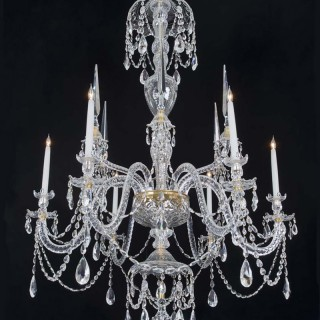 A FINE SIX LIGHT CRYSTAL CHANDELIER IN ADAM STYLE