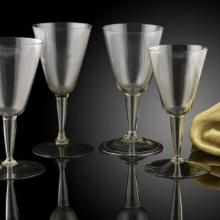 An unusual 'set' of 4 Cristallo glasses; Venetian, early 17th century