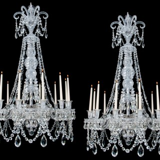 A FINE QUALITY PAIR OF MID VICTORIAN ANTIQUE CHANDELIERS ATTRIBUTED TO F&C OSLER