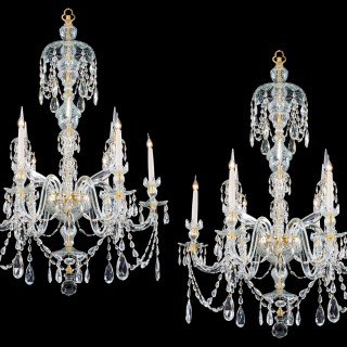 A FINE PAIR OF SIX LIGHT ORMOLU MOUNTED CUT GLASS ANTIQUE CHANDELIERS IN ADAM STYLE