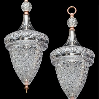 A FINE PAIR OF CUT GLASS ACORN LANTERNS BY F&C OSLER