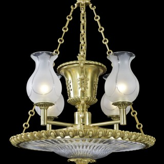 A FINE REGENCY PERIOD ORMOLU AND GLASS DISH-LIGHT