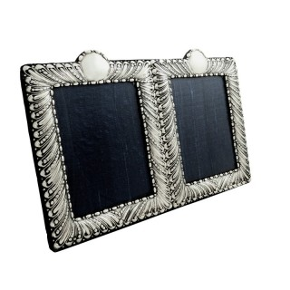 Antique Victorian Sterling Silver Double Photo Frame 1897