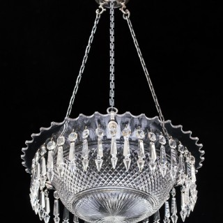 A FINE VICTORIAN DIAMOND CUT BOWL LIGHT