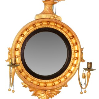 English Small Regency Giltwood Convex Mirror