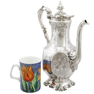 Sterling Silver Coffee Pot - Antique Victorian (1850)