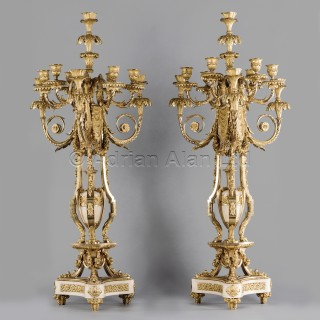 A Pair Of Gilt-Bronze And White Marble Ten-Light Candelabra