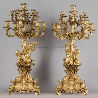 An Important Pair of Victorian Gilt-Bronze Candelabra