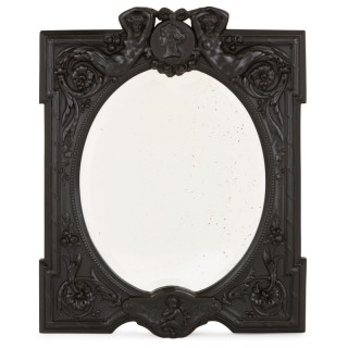Antique French ebony dressing table mirror