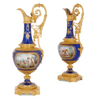 Two Sèvres style porcelain and gilt bronze jugs